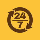 The 24 7 icon. Open and assistance, support symbol. Flat. Vector illustration. Button Stock Photos