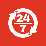 The 24 7 icon. Open and assistance, support symbol. Flat. Vector illustration. Button Royalty Free Stock Photo