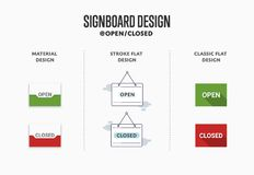 Icon is open and closed. Idea for a store sign. Vector illustration Royalty Free Stock Image