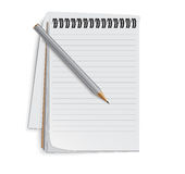 Icon of an open notebook. About a pencil Stock Photos