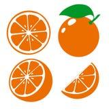Icon orange fruits. Set fresh orange and slice. Isolated on white background. Vector. Illustrations Royalty Free Stock Images