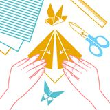Icon  of origami lessons Stock Image