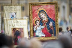 Icon of our Lady Mary and Jesus Child stock photography