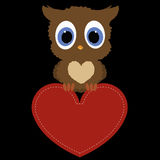 Icon owl holding a red heart frame on black background. template Royalty Free Stock Photos