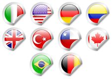 Icon pack 10 contingent country label. Vector design of flag nationality emblem Royalty Free Stock Images