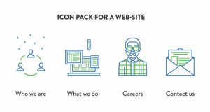 Icon pack for a web-site with icons displaying Who. We are, What we do, Careers, Contact us. Web page building concept Stock Photo