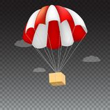 Icon of package flying on red parachute on a background of clouds. Air shipping, delivery service template, 3D Stock Image