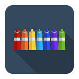 Icon of paint in tubes flat design. Vector icon of paint in tubes flat design Royalty Free Stock Image