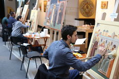 Icon painters. Icon painting workshop