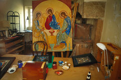Icon Painting Workshop Royalty Free Stock Photo