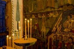 Icon paintings in monastery interior Stock Photo