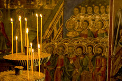 Icon paintings in monastery interior Royalty Free Stock Images