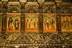 Icon paintings in monastery interior Royalty Free Stock Photos