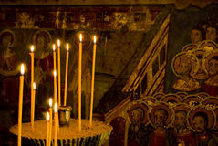 Icon paintings in monastery interior Royalty Free Stock Image
