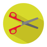Icon of a par of scissors in flat style. Vector illustration. School concept Royalty Free Stock Images