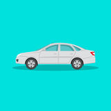 Icon of the passenger car. With a shadow on the  green background. The vehicle in flat style. Design element. Vector illustration Royalty Free Stock Photo
