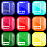 Icon of PDA. On shiny buttons Royalty Free Stock Photo