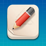 Icon of pencil on paper. Royalty Free Stock Photo