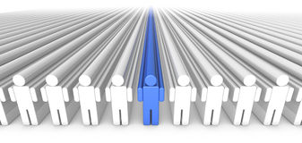 Icon People 3D Blue Person in Center Stock Photos