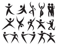 Icon of people dancing in different styles. Stock Image