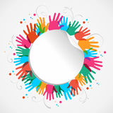 Color hand print circle. Icon people hand connected, concept illustration background. Vector file layered for easy manipulation and custom coloring Royalty Free Stock Photography
