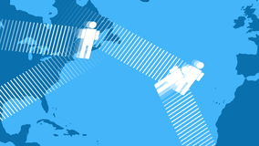 Icon People Moving around the World Map. Animation of icon people flying over map of the world passing by in the background stock video footage