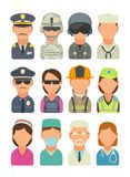 Icon people - soldier, officer, pilot, marine, sailor, police, bodyguard, fireman, paramedic. Set icon people different professions. Soldier, officer, pilot Stock Photo