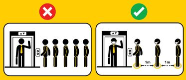 Free Icon People Waiting For Elevator Or Lift.Social Distancing When Go Back To Work After Corona Virus Covid 19 Spread Concept.Man And Royalty Free Stock Photo - 188560835