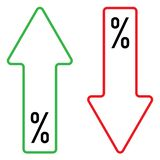 Icon of percent growing and falling color royalty free illustration