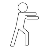 Icon of person fight boxing. Isolated  illustration Stock Image