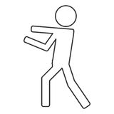 Icon of person fight boxing. Isolated  illustration Stock Photography