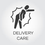 Icon of person in pain. Delivery care concept. Icon of person in pain. Label drawn in flat style. Delivery care concept. Simple black logo for websites, mobile Royalty Free Stock Photo