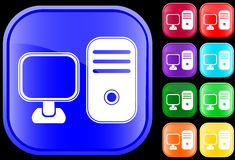 Icon of a personal computer. Icon of  a personal computer on shiny square buttons Royalty Free Stock Photography