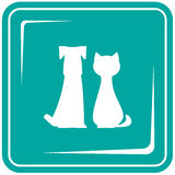 Icon with pets - dog and cat. Blue icon with pets - dog and cat. Veterinary symbol Royalty Free Stock Photography