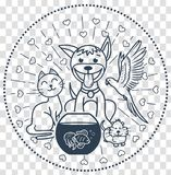 Icon pets sitting  cat dog. Concept of friendship of domestic animals in the form of a cat, a dog, a parrot, a hamster sitting next to each other. For a pet Royalty Free Stock Photography