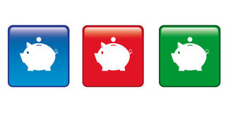 Icon pig money-box. The color buttons money-box piggy Stock Photos