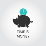 Icon of piggy and clock. Time is money concept Stock Image