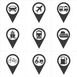 Icon pin check in place Royalty Free Stock Images