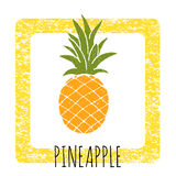 Icon pineapple cute hand-drawn. Vector illustration. Stock Images
