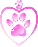 The icon - a pink paw with a heart vector illustration