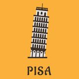 Icon of Pisa Tower in flat style Stock Images
