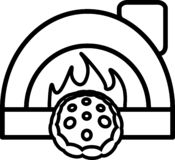 Icon pizza with tomatoes, cheese and oven. For websites or applications royalty free illustration