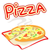Icon with pizza on a white background. Vector illustration stock illustration