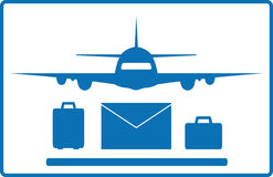 Plane, mail envelope and luggage bags Stock Photo