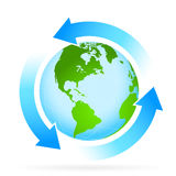Icon Planet Earth with Arrow. Icon Planet Earth with Blue Arrows Royalty Free Stock Photos
