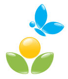 Icon of plant with blue butterfly Royalty Free Stock Photo