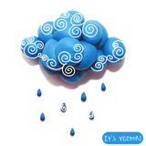 Icon of plasticine cloud Stock Photography