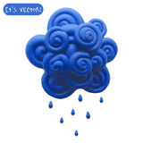 Icon of plasticine cloud. Vector illustration. Icon of plasticine cloud on white background. Design for your website Royalty Free Stock Photography