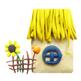 Icon of plasticine house, fence, pitcher and. Vector illustration. Icon of plasticine house, fence, pitcher and sunflower on white background. Design in Royalty Free Stock Photos