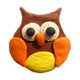 Icon of plasticine owl. Vector illustration. Icon of plasticine owl on white background. Design for your website vector illustration